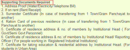 Uttarakhand ration card required documents