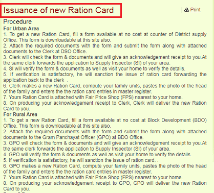 Issuance of ration Card