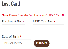 Apply pwd lost card